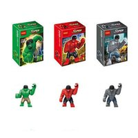 Wholesale Decool Building Bricks Blocks super heroes the avengers big GREEN RED GRAY HULK Action mini Figures minifigures kids Toys