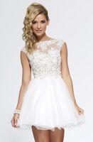 A-Line semi formal dress - 2015 Semi Formal Dresses A Line V Back Tulle Short Mini White Crew Homecoming Dress With Lace Short Homecoming Dress
