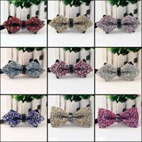 Wholesale 2015 New arrival Men s Fashion Tuxedo business crystal Butterfly Wedding Party Bow tie Red Black White Green Bow Tie