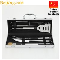 barbecue brush - 6pcs Stainless Steel BBQ Grill Tools Set Barbecue Accessories Utensils Kit spatula fork tongs basting brush knife aluminum case
