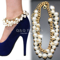 Cheap Celeb Gold Pearls Hang Curb Chain High Heel Shoe Ankle Anklet Bracelet Sandal Jewelry Free Shipping