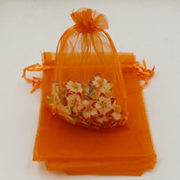 Wholesale MIC orange With Drawstring Organza Gift Bags x9cm x11cm x18cm