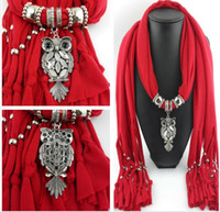 handmade clay pendant - 30PCS White Red Brown Scarf Jewelry Pendant Necklace Fashion Womens Soft Scarves Jewellery Mix Design Colors K5240