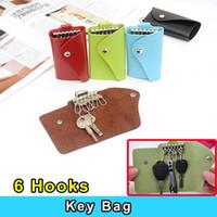 Wholesale Fashion Key Wallets Bag Wavy PU Leather Key Bag Case Wallets Portable Keychain Bag unisex solid key bag holder