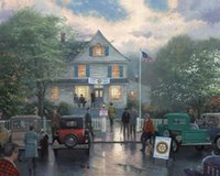 Wholesale oil Painting Thomas Kinkade art for sale The Rotary Club Meeting Canvas Hand painted High quality