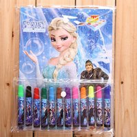 Wholesale Frozen Anna Elsa cartoon watercolors pen suit with color in the color crayons for Christmas Kids Boys Girls Gift H0035a