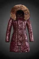 Wholesale Winter button zippers womens long jackets fur hooded down coats outerwear in red MO3002r