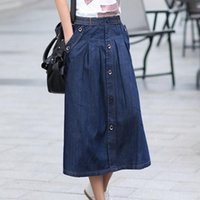 jean skirts - Drop Shipping Promotion Lady Fashion Skirts Plus Size M XL Korean Female Loose Clothing New Women Casual Long Jean Skirts BS06016