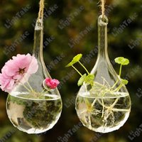 wooden planter - 2Pcs Crystal Glass Hanging Vases Clear Water Drop Shaped Planter Flower Pot With Holes For Home Party Wedding Decoration