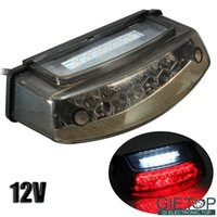Wholesale 12V Universal Motorcycle LED Rear Tail Brake Running Stop License Plate Red And White Color Light Number Plate Lamp