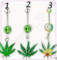 Wholesale 20pcs CCA3581 High Quality Jamaican Rasta Pot Leaf Gem Belly Ring Navel Ring Body Piercing Jewelry Stainless Steel Maple Leaves Navel Ring