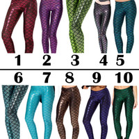 american fitness wholesalers - The Little Mermaid fish scale leggings women legging sequin galaxy pencil leggings fitness legging fashion girls punk pants