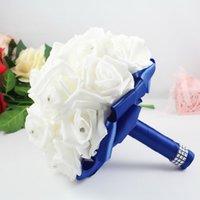 Wholesale Hand Made Artificial Silk Rose Wedding Bouquet Rhinestone Artificial Flower for Bride Bridal Bridesmaid Royal Blue Wedding Flowers