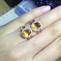Cheap Women Fashion natural citrine 925 sterling silver birthstone jewelry adjustable ring