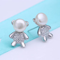 baby stud pearl earrings - 017 S925 sterling silver baby bear statue carved natural pearl earrings hypoallergenic earrings Korean fashion silver jewelry