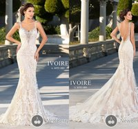 Wholesale 2015 Mermaid Wedding Dresses Lace Bridal Gowns V Neck Sleeveless Backless Lace with Shining Beads Crystal Sweep Train Long Wedding Gowns