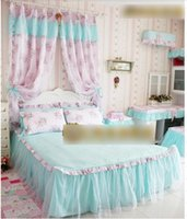 Wholesale Korea Lovley Princess Bedroom Window Curtain High Quality Cotton Lace Tulle Flowers Organdy Home Room Curtain H1984