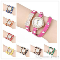 Wholesale Fashion Bowknot Watches Wrap Watches Women Watches Lady Leather Wrist Watches Diamonds Bowknot Round Dial Charming Bracelets Watches