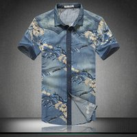 art jeans - New Arrival Brand Cool Flowers Print Denim Jeans Shirt Man Plus Size Short Sleeve Chinese Art Fashion Men Clothes