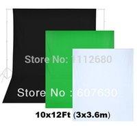 Wholesale 3pcs x12ft x3 m100 Cotton Muslin Backdrops for Black White Green Photo Studio Backgroun