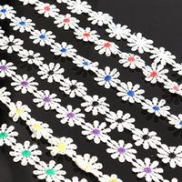 Wholesale 1Yard Lovely Mini Flower Embroidered Lace Trim Home DIY Sewing Accessory Applique Decor Crafts Scrapbooking