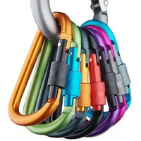 aluminium backpack - Outdoor Safety Buckle With Lock Aluminium Alloy Climbing Button Carabiner Camping Backpack Sports Hook