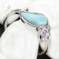 american reviews - Larimar and White Cubic Zirconia jewelry Silver Plated RING Classic R3518 sz Favourite Best Sellers Time limited discount Rave reviews