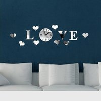 acrylic wall letters - New Creative Romantic Acrylic Mirror Effect LOVE Letter Decal Wall Sticker Clock Mechanism Decoration Z00428