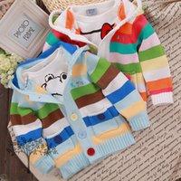 Wholesale Retail Children s Cardigan coat fashion striped girls boys sweaters long sleeve kids hooded outwear baby costume HX