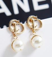 Stud pearl alloy earrings - Korean Style Women s Elegant Alloy Pearl CD Earrings Girls Party Valentines s Day Women Stud Fashion Gold J1908
