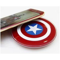 Wholesale Avengers Captain America Shield Chargi QI Car Wireless Charger For Samsung Galaxy S6 S5 S4 Note iPhone5 s Plus Charging pad