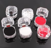 Wholesale 4 cm Plastic Transparent Jewelry Box Ring Box Earrings Box Packing Gift Box