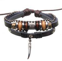 Wholesale BA147 Handmade Genuine Leather Adjustable Bracelet Jewelry Bijouterie Wristband Surf Unisex Men Woman