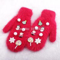 angora gloves - Christmas snowman Santa angora mix thick winter gloves ST0002