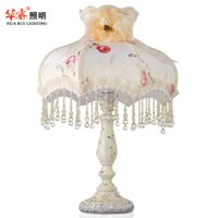 bedsides for children - Resin Fabric Decorative rustic Lighting table lamps read palace desk lighting for living room study children room bedside light new arrivel