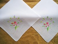 Wholesale Women s handmade embroidery orchid handkerchief pure white cotton Shantou