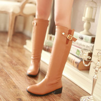 boots ladies boots - Hot Ladies Knight boots Zipper High quality PU Kitten Heel High boots Fashion Thick with Wear non slip women boots