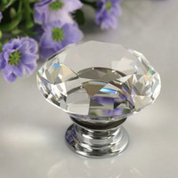 Wholesale 1PC Round Diamond Clear Crystal Glass Door Pull Drawer Knob Handle Cabinet Furniture hot search