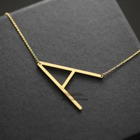 stainless steel collar - Fashion letter pendant necklace initial necklace K gold chain alphabet collar necklace women stainless steel jewelry