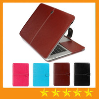 Wholesale Portable Faux Leather Laptop Folio Book Wallet Cover Case For Macbook Air inch Air Pro with Retina Laptop Protector Bag Folio free