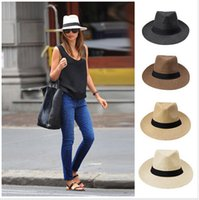 Wholesale 2015 Fashion Men Women Summer Sun Hat Panama Sun Straw Hat Contrast Color Ribbon Pinched Crown Rolled Trim Beach Hats