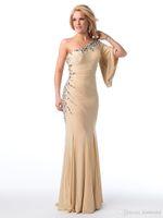 dresses uk - 2015 New Beads Crystal One Shoulder Evening Dresses Poet Sleeve Sheath Floor length UK Formal Dress Prom Gowns
