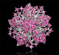 Cheap fashion elegant flower rhinestone brooch Best large wedding party crystal pins