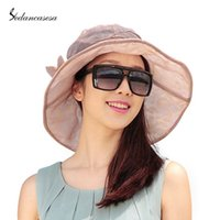 beige shade cloth - Elegant Soft Beach Hat Cloth Flodable Hat With Flower Decoration Sun shading For Ladies Summer Hat WG140495