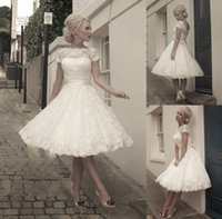 church dresses - 2015 Lace Short Wedding Dresses A Line Bateau Short Sleeve Sash Knee Length Custom Sheer Bridal Gowns Dress for Church Garden Beach Wedding