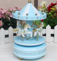 Wholesale 48pcs Carousel music box wooden go round music box gift Home furnishings