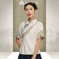 ancient chinese blouse - The summer wear of Chinese national wind restoring ancient ways is cotton and linen everyday Chinese dress sleeve blouse