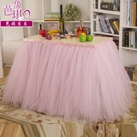 Cheap Custom Made Table Wedding Supplies 2016 New Arrive Tutu Table Decoration Pearls Table Skirt Weddings Imitation Bridal Showers Parties Tutu