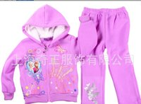 Wholesale Frozen Clothes Sets Hoodies Pants Children s Winter Elsa Outfits Sets Baby Kids Clothing Purple Jacket New Dhl Christmas Gift B277