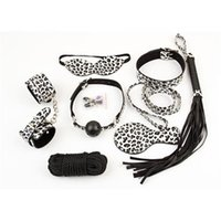 Wholesale Full Body Bondage Belt Leopard eight Sets Whip Palm Goggles Rope Handcuffs Collar Milk Clip Mouth Ball Fetish Bondage Toys